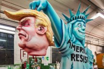 DUSSELDORF, GERMANY - FEBRUARY 27: A float featuring U.S. President Donald Trump and the Statue of Liberty prior to the annual Rose Monday parade on February 27, 2017 in Dusseldorf, Germany. Political satire is a traditional cornerstone of the annual parades and the ascension of Trump to the U.S. presidency, the rise of the populist far-right across Europe and the upcoming national elections in Germany provided rich fodder for float designers this year. (Photo by Lukas Schulze/Getty Images)
