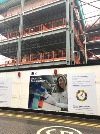Logo design and hoardings for the University of Oxford's new BioEscalator building, a project aimed at biomedical start-ups in Oxford.